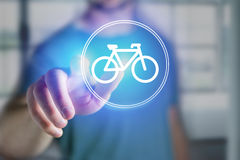 Bicycle icon over device - Sport and technology concept. View of a Bicycle icon over device - Sport and technology concept royalty free stock photography