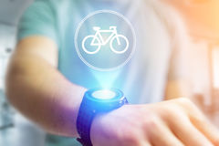 Bicycle icon over device - Sport and technology concept. View of a Bicycle icon over device - Sport and technology concept royalty free stock images