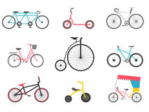 Bicycle icon set. Bike types. Vector illustration Stock Images
