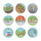 Bicycle icon set Royalty Free Stock Photo