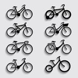 Bicycle icon set with shadow Stock Photo