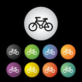 Bicycle icon set. Vector bicycle button icon set Royalty Free Stock Photo