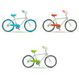 Bicycle icon set. Vector hand drawn illustration of tiny cute green, red, blue bicycle. For ui, games, and patterns Stock Photography