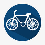 Bicycle icon transport ecology  button with shadow. Illustration Stock Photography