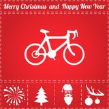Bicycle Icon Vector. And bonus symbol for New Year - Santa Claus, Christmas Tree, Firework, Balls on deer antlers stock illustration