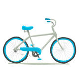 Bicycle icon. Vector hand drawn illustration of tiny cute light blue bicycle. For ui, games, and patterns Stock Photos