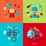 Bicycle icons flat set Royalty Free Stock Photo