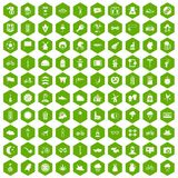 100 bicycle icons hexagon green. 100 bicycle icons set in green hexagon isolated vector illustration Stock Photography