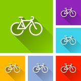 Bicycle icons with long shadow. Illustration of bicycle icons with long shadow Stock Image