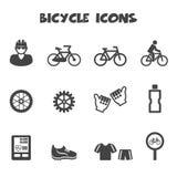 Bicycle icons. Mono vector symbols stock illustration