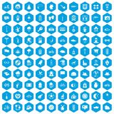 100 bicycle icons set blue. 100 bicycle icons set in blue hexagon isolated vector illustration Stock Photos
