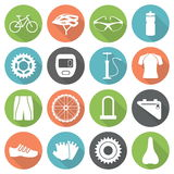 Set of bicycle parts and sport equipment icons in flat style. Royalty Free Stock Photography