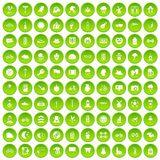 100 bicycle icons set green circle. Isolated on white background vector illustration Royalty Free Stock Images