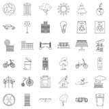 Bicycle icons set, outline style Royalty Free Stock Photography