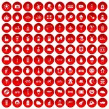 100 bicycle icons set red Stock Photo