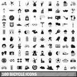 100 bicycle icons set, simple style. 100 bicycle icons set in simple style for any design vector illustration Stock Image