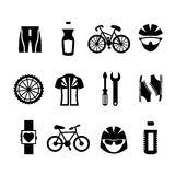 Bicycle Icons Set. Bicycle sport fitness black and white icons set with clothes bottle helmet cyclist isolated vector illustration stock illustration
