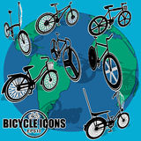 Bicycle icons on world map. Stock Image