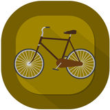 Bicycle illustration. With brown background and drop shadow Stock Image