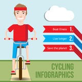 Bicycle infographics concept with front view of smiling hipster man Stock Photo