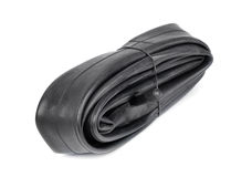 Bicycle inner tube  on white background Royalty Free Stock Images