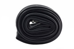 Bicycle inner tube. On white background Stock Images