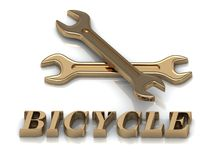 BICYCLE- inscription of metal letters and 2 keys Royalty Free Stock Images