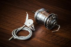 Bicycle internal-gear rear hub and shifter with cable and wire. From the 1950s from Austria, Europe Royalty Free Stock Photo