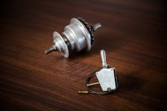 Bicycle internal-gear rear hub and shifter with cable and wire. From the 1950s from Austria, Europe Stock Photo