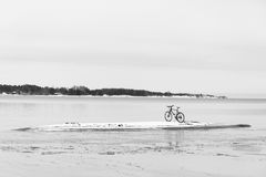 Bicycle on an isle in ocean Stock Photo