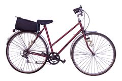 Bicycle isolated on white background. Ladies classic bicycle with red frame and saddle bag, png file available Stock Photos