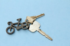 Bicycle key ring and two keys Royalty Free Stock Images
