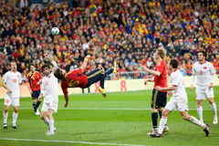 Bicycle Kick. MADRID - MAR. 28, 2009: Spain's Sergio Ramos bicycle kick shot goes just wide during the second half of their 1-0 victory over Turkey in their Royalty Free Stock Photography