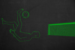 Bicycle kick in front of a soccer goal, drawed with green chalk Stock Photography