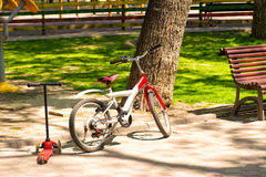Bicycle and kick scooter Royalty Free Stock Photo