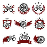 Bicycle labels and icons set. Vector. Sport, wing royalty free illustration