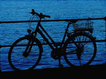 Bicycle lake silhouette Royalty Free Stock Image