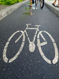 Bicycle lane. Channel for Bicycle specific Safety of the driver Stock Image