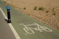 Bicycle lane. Photograph of a designated cycle lane on a walkway Stock Photos
