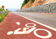Bicycle Lane along The Beach Road. Bicycle Lane with Scenery along The Beach Road Stock Photo