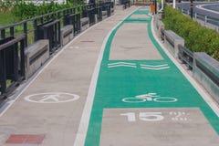 Bicycle lane around the lake. Royalty Free Stock Images