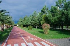 Bicycle lane at Batumi seafront,Georgia,Adjara; cycle track Royalty Free Stock Photos