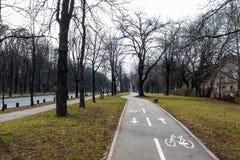 Bicycle lane in Belgrade, Serbia Royalty Free Stock Photo
