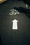 Bicycle lane with Bicycle Sign. Transportation Concept Royalty Free Stock Photos