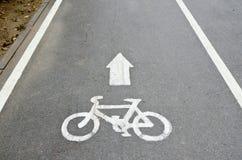 Bicycle lane. With bike symbol Stock Photos