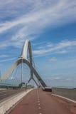 Bicycle lane on the bridge across the river Waal in Nijmegen Royalty Free Stock Image