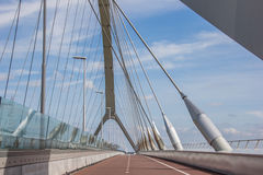 Bicycle lane on the bridge across the river Waal in Nijmegen Stock Photography
