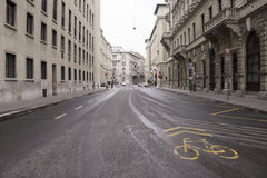 Bicycle lane in Budapest Royalty Free Stock Images
