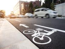 Bicycle lane car moving Street city transportation Royalty Free Stock Image