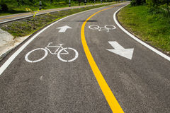Bicycle lane only. Bicycle lane only in Chiangmai,Thailand Royalty Free Stock Photos